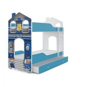 MAXMAX Detská Domčekové poschodová posteľ Dominik Y - 160x80 cm - POLÍCIA