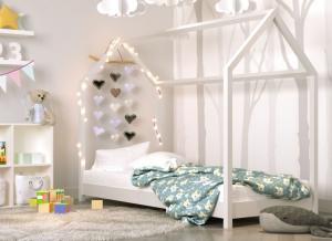 MAXMAX Detská Domčekové posteľ IZABELA - biela 200x90 cm
