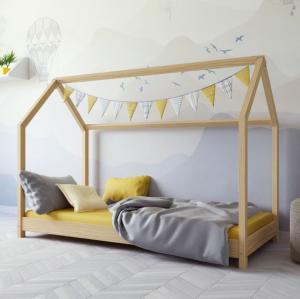 MAXMAX Detská Domčekové posteľ IZABELA - prírodná 200x90 cm