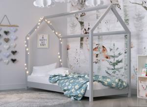 MAXMAX Detská Domčekové posteľ IZABELA - sivá 200x90 cm