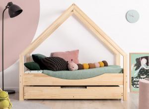 MAXMAX Detská Domčekové posteľ so zásuvkou z masívu LOCA E - 200x80 cm