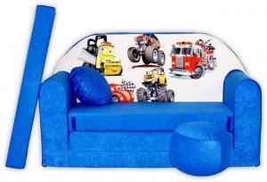 MAXMAX Detská pohovka CARS - modrá