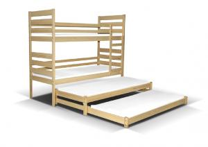 MAXMAX Detská poschodová posteľ s dvoma prístelkami pre 4 osoby MULTI 200x90 cm + matrac ZADARMO!