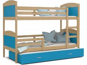 MAXMAX Detská poschodová posteľ s prístelkou MATTEO - 200x90 cm - modrá / borovica