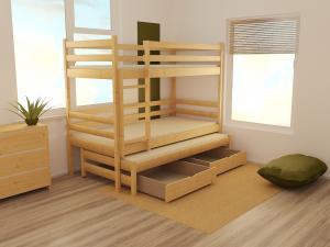 MAXMAX Detská poschodová posteľ s prístelkou z MASÍVU 180x80cm bez šuplíku - PPV015