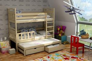 MAXMAX Detská poschodová posteľ s prístelkou z MASÍVU 180x80cm so zásuvkou - PPV001