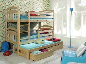 MAXMAX Detská poschodová posteľ s prístelkou z MASÍVU 180x80cm so zásuvkou - PPV006