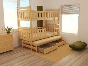 MAXMAX Detská poschodová posteľ s prístelkou z MASÍVU 200x90cm bez šuplíku - PPV008