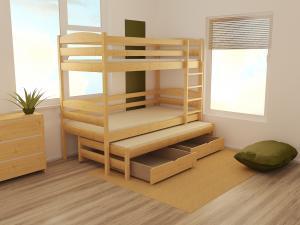 MAXMAX Detská poschodová posteľ s prístelkou z MASÍVU 200x90cm bez šuplíku - PPV016