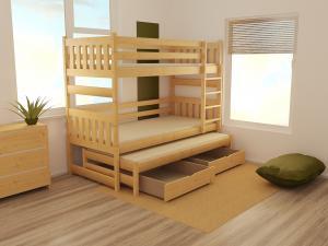 MAXMAX Detská poschodová posteľ s prístelkou z MASÍVU 200x90cm so zásuvkou - PPV019