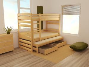 MAXMAX Detská poschodová posteľ s prístelkou z MASÍVU 200x90cm so zásuvkou - PPV020