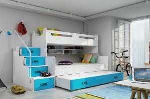 MAXMAX Detská poschodová posteľ s rozšíreným spodným lôžkom a prístelkou MAXÍK 3 bielo-modrá- 200x120 cm + matrac ZADARMO