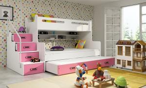 MAXMAX Detská poschodová posteľ s rozšíreným spodným lôžkom a prístelkou MAXÍK 3 bielo-ružová- 200x120 cm + matrac ZADARMO