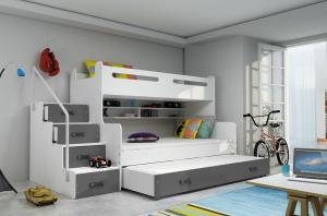 MAXMAX Detská poschodová posteľ s rozšíreným spodným lôžkom a prístelkou MAXÍK 3 bielo-šedá - 200x120 cm + matrac ZADARMO