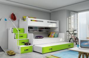 MAXMAX Detská poschodová posteľ s rozšíreným spodným lôžkom a prístelkou MAXÍK 3 bielo-zelená - 200x120 cm + matrac ZADARMO