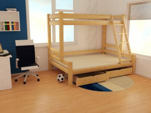 MAXMAX Detská poschodová posteľ s rozšíreným spodným lôžkom z masívu ROBUST 8X8 6A - 200x80 cm