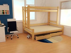 MAXMAX Detská poschodová posteľ s rozšíreným spodným lôžkom z masívu ROBUST 8X8 6B - 200x80/120 cm