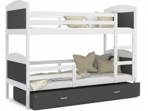 MAXMAX Detská poschodová posteľ so zásuvkou MATTEO - 160x80 cm - šedo-biela