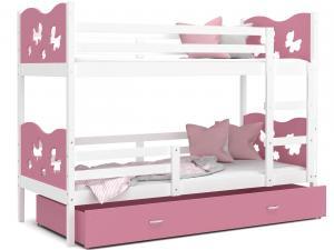 MAXMAX Detská poschodová posteľ so zásuvkou MAX R - 200x90 cm - ružovo-biela - motýle
