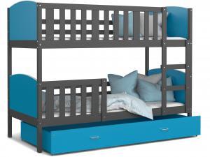 MAXMAX Detská poschodová posteľ so zásuvkou TAMI Q - 190x80 cm - modro-šedá