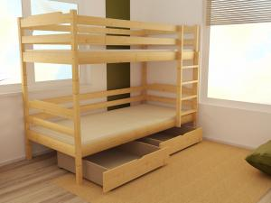 MAXMAX Detská poschodová posteľ z MASÍVU 200x80cm bez šuplíku - PP012