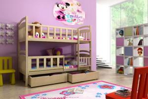 MAXMAX Detská poschodová posteľ z MASÍVU 200x90cm bez šuplíku - PP005