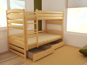 MAXMAX Detská poschodová posteľ z MASÍVU 200x90cm bez šuplíku - PP020
