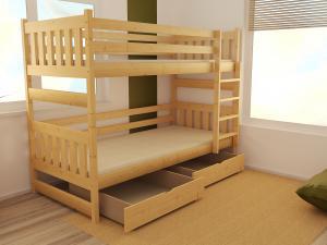 MAXMAX Detská poschodová posteľ z MASÍVU 200x90cm bez šuplíku - PP021