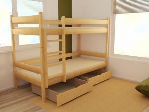 MAXMAX Detská poschodová posteľ z MASÍVU 200x90cm BEZ ZÁSUVKY - PP002