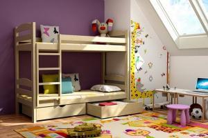 MAXMAX Detská poschodová posteľ z MASÍVU 200x90cm bez zásuvky - PP004