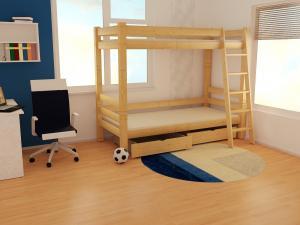 MAXMAX Detská poschodová posteľ z masívu ROBUST 8X8 3A - 180x80 cm