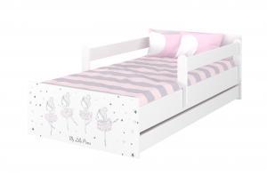 MAXMAX Detská posteľ MAX - 200x90 cm - RUŽOVÁ BALETKA - biela