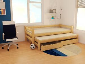 MAXMAX Detská posteľ s výsuvnou prístelkou z masívu ROBUST 8X8 7A - 200x80 cm