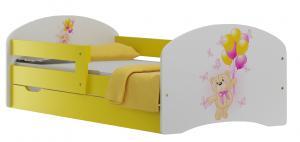 MAXMAX Detská posteľ so zásuvkami MACKO A MOTÝLCI 200x90 cm