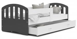 MAXMAX Detská posteľ so zásuvkou HAPPY - 200x80 cm - bielo-šedá