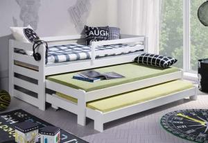 MAXMAX Detská posteľ z masívu borovice RICHARD s dvoma prístelkami - 200x90 cm - biela