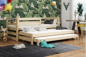 MAXMAX Detská posteľ z masívu borovice RICHARD s dvoma prístelkami - 200x90 cm - prírodná