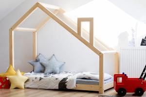 MAXMAX Detská posteľ z masívu DOMČEK s komínom 190x80 cm