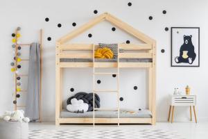 MAXMAX Detská posteľ z masívu Poschodová DOMČEK - TYP A 140x70 cm
