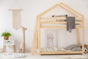 MAXMAX Detská posteľ z masívu Poschodová DOMČEK - TYP B 160x90 cm