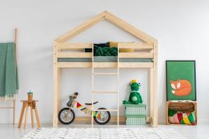 MAXMAX Detská vyvýšená posteľ z masívu DOMČEK - TYP A 190x80 cm