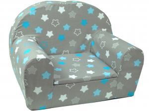 MAXMAX Detské kresielko BIELE A modrou hviezdičkou