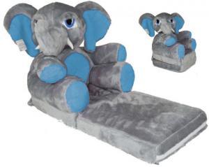 MAXMAX Detské plyšové rozkladacie kresielko SLON - modrý