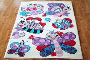 MAXMAX Detský koberec Motýlí - krémový