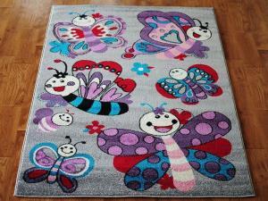 MAXMAX Detský koberec Motýlí - sivý