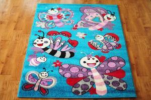 MAXMAX Detský koberec Motýlí - tyrkysový