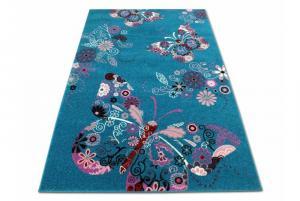 MAXMAX Detský koberec Motýliky - tyrkysový