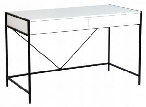 MAXMAX Písací stôl INDUSTRIAL so zásuvkami - biely / čierny