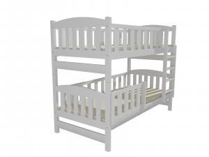 MAXMAX SKLADOM: Detská poschodová posteľ z MASÍVU 200x90cm so zásuvkami - PP013 - biela