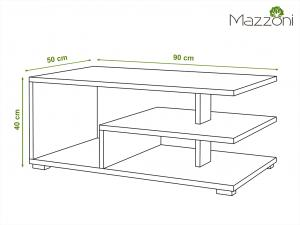Mazzoni LINK dub craft zlatý / čierny, konferenčný stolík